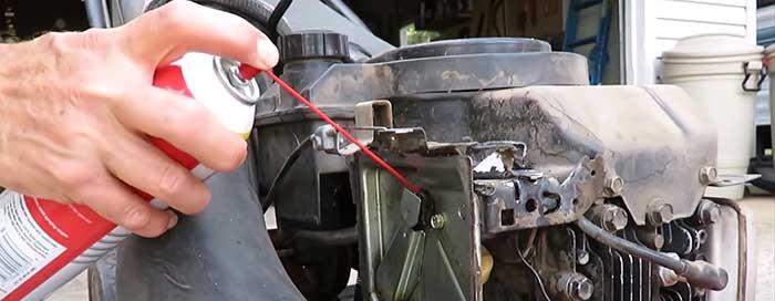 dirty lawn mower carburetor