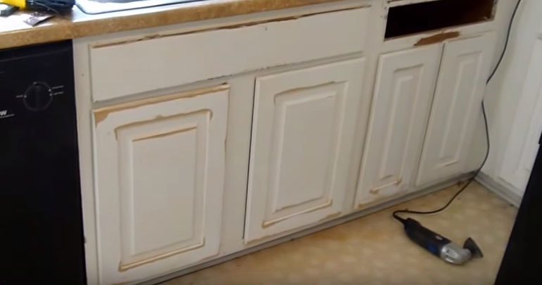 water damaged kitchen cabinet