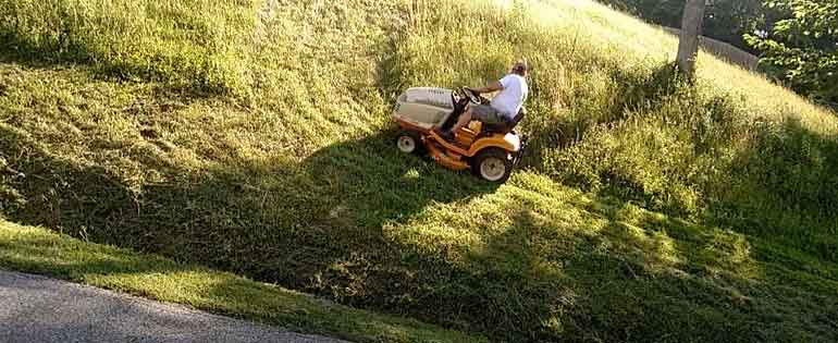 Mowing A Steep Hill With a Riding Mower