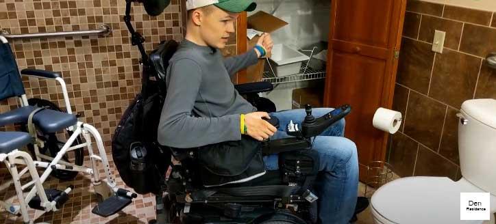 wheelchain in ADA compliant bathroom