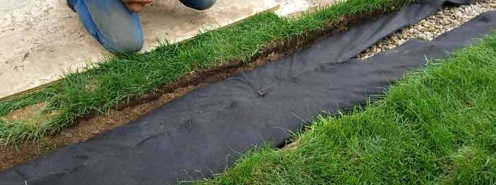 Drainage Fabric In French Drain Trench